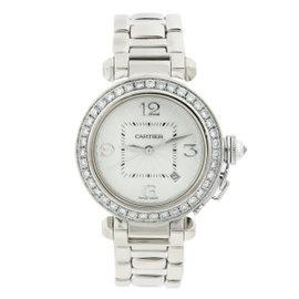 Cartier Pasha de Cartier 2528 Diamond Bezel 18K White Gold Womens Watch