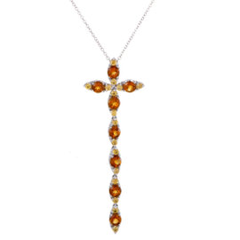 Pasquale Bruni Ghirlanda 18K White Gold Citrine and Sapphire Cross Pendant Necklace
