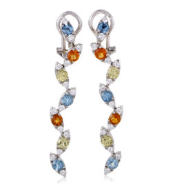 Pasquale Bruni 18K White Gold Ghirlanda Diamond and Gemstone Drop Earrings