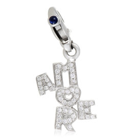 Pasquale Bruni Amore 18K White Gold Diamond and Sapphire Pave Charm