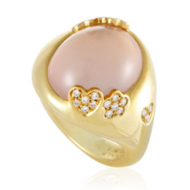 Pasquale Bruni 18K Yellow Gold Diamond and Moonstone Cocktail Ring Size 7