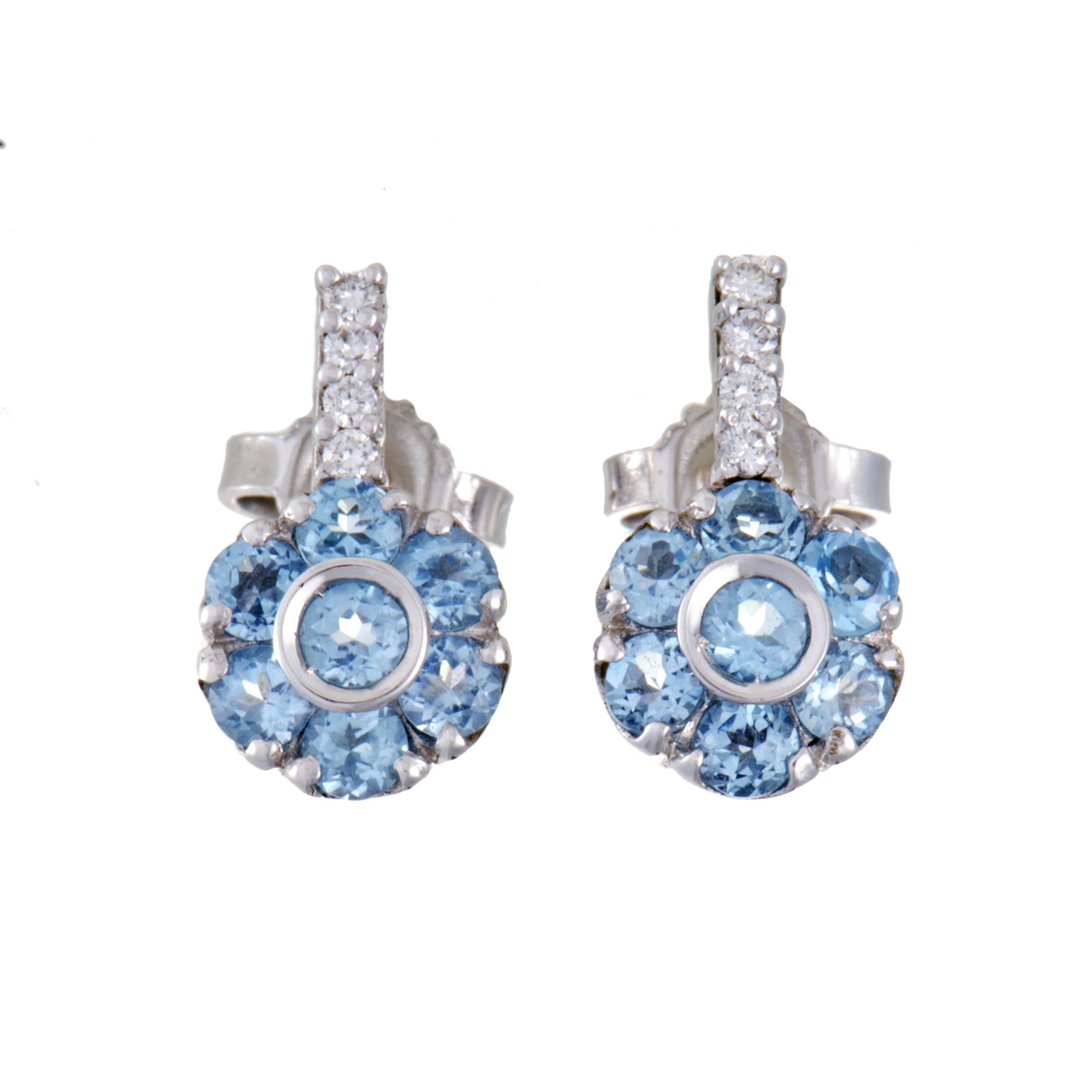 """""Pasquale Bruni Fiori 18K White Gold Diamond and Topaz Flower Earrings"""""" 1353337"