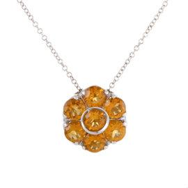 Pasquale Bruni Fiori 18K White Gold Citrine and Sapphire Pendant Necklace