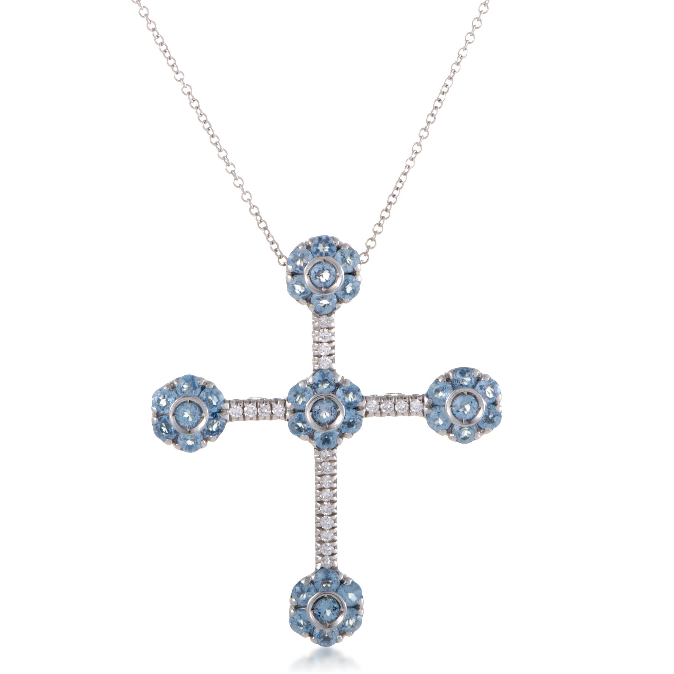"""""""""""Pasquale Bruni Fiori 18K White Gold Diamond and Topaz Cross Pendant"""""""""""" 1366560"""