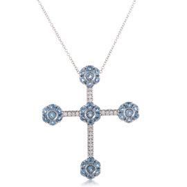 Pasquale Bruni Fiori 18K White Gold Diamond and Topaz Cross Pendant Necklace