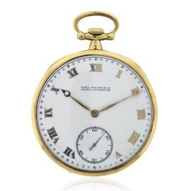 Patek Philippe 18K Yellow Gold White Dial Manual 44mm Unisex Pocket Watch