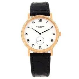 Patek Philippe Calatrava 3919 18K Rose Gold & Leather White Dial Manual 33mm Mens Watch