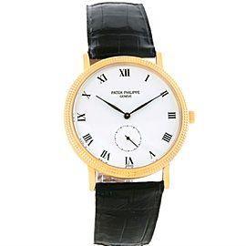 Patek Philippe Calatrava 3919 18K Yellow Gold & Leather Porcelain Dial Manual 33mm Mens Watch