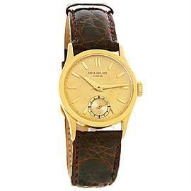 Patek Philippe Calatrava 96 18K Yellow Gold & Leather Vintage 30mm Mens Watch