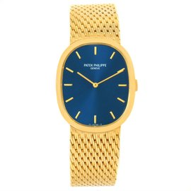 Patek Philippe Golden Ellipse 3748 18K Yellow Gold Blue Dial 22mm Mens Watch