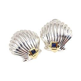Tiffany & Co. Sterling Silver 18K Yellow Gold Blue Sapphire Shell Earrings