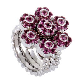 Pasquale Bruni Fiori 18K White Gold & Pink Tourmaline Flower Cocktail Ring Size 7.5