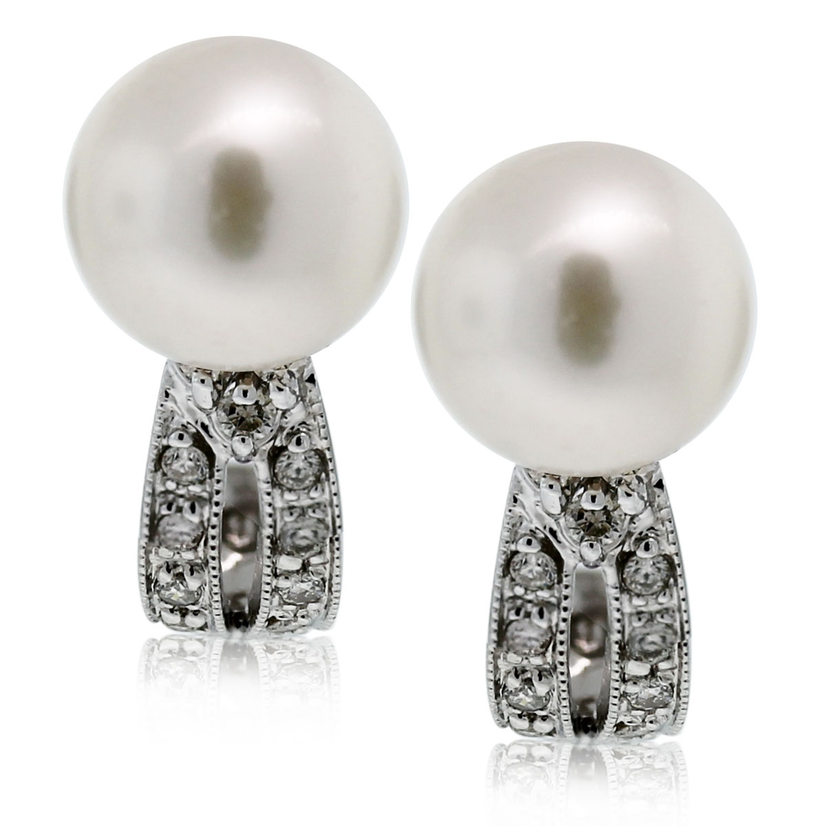 "Image of ""14K White Gold with Pearl and Diamond Curved Hook Stud Earrings"""