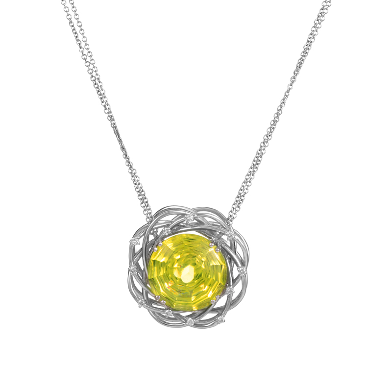 "Image of ""Penta 18K White Gold Lemon Quartz & Diamond Pendant Necklace"""