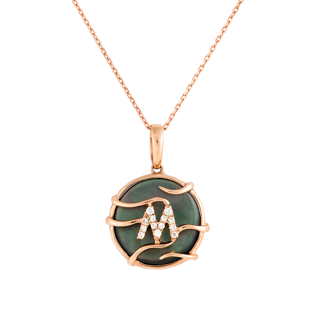 "Image of ""14k Pg Mini Rd Black Mop and Dia Luna Initial m Pendant With Chain"""