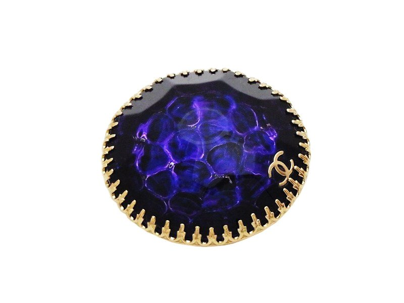 "Image of ""Chanel CC Logo Gold Tone Metal Purple Plastic Stone Pin Brooch"""