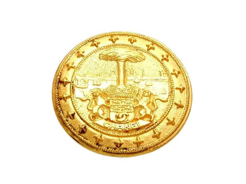 "Image of ""Chanel CC Logo Gold Tone Metal Pin Brooch"""