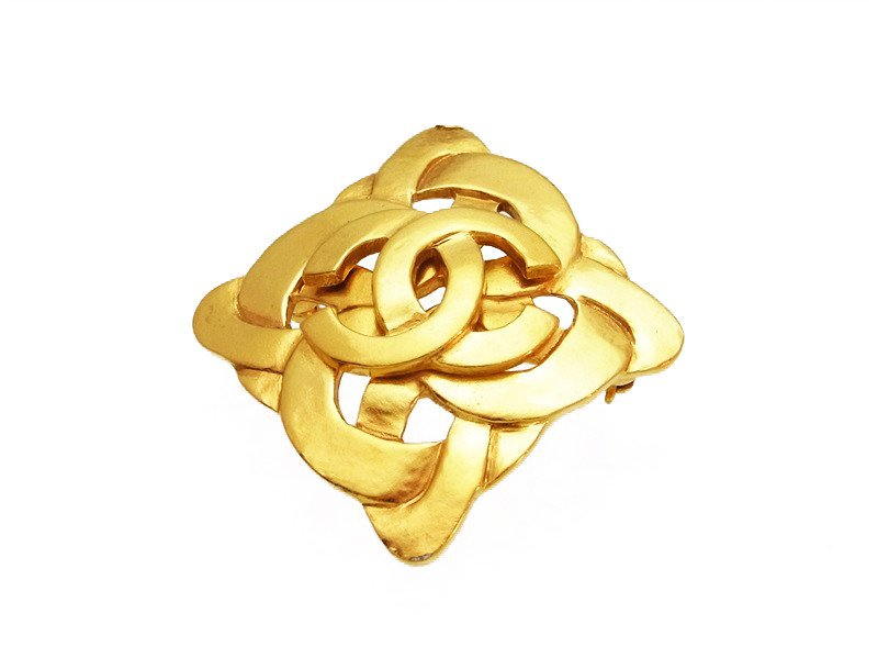 "Image of ""Chanel CC Logo Gold Tone Metal Rhombus Pin Brooch"""