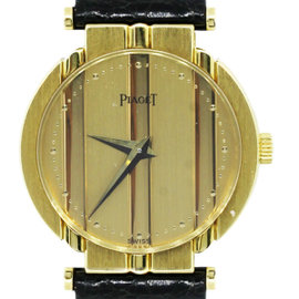 Piaget 8263 18K Yellow Gold Polo Leather Strap Watch