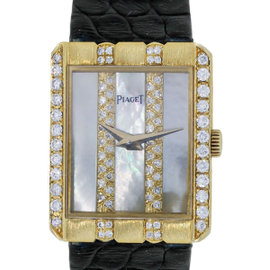 Piaget 18K Yellow Gold Diamond MOP Dial on Leather Watch