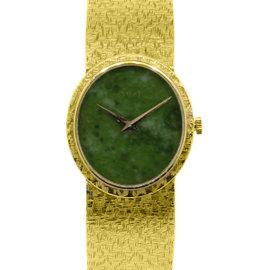 Piaget 18K Yellow Gold Jade Stone Dial Ladies Watch