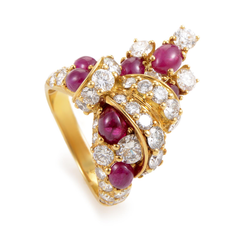 """Image of """"Piaget 18K Yellow Gold Diamond & Ruby Ring"""""""