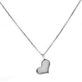 Piaget 18K White Gold Mother of Pearl Heart Pendant Necklace