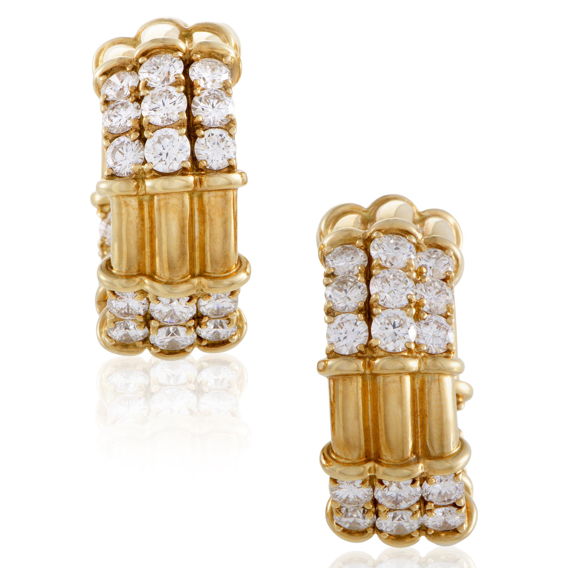 "Image of ""Piaget 18K Yellow Gold Diamond Hoop Clip-on Earrings"""