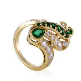Piaget 18K Yellow Gold with Diamond and Emerald Ring Size 6.25