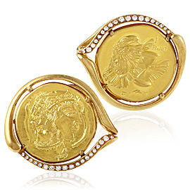 Piaget 18K & 22K Yellow Gold Diamond Coin Cufflinks
