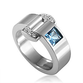 Piaget Miss Protocole 18K White Gold Diamond & Topaz Ring