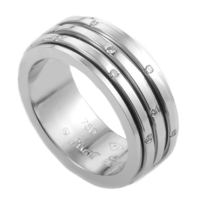 "Image of ""Piaget 18K White Gold Diamond 3 Band Ring Size 7"""