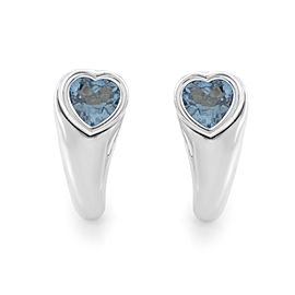 18K White Gold Topaz Heart Earrings