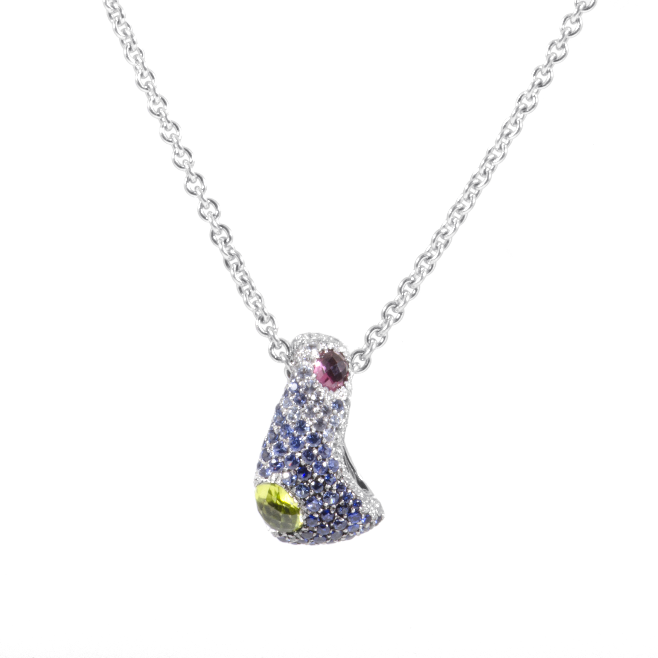 "Image of ""Piero Milano 18K White Gold Diamond and Gemstone Pendant Necklace"""