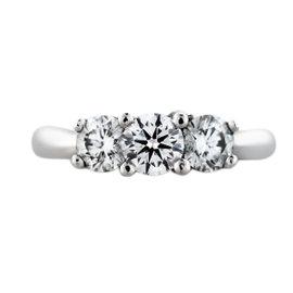 Platinum and 18K White Gold 3 Stone 1.00ct. Diamond Engagement Ring Size 5.25