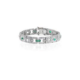 Platinum & Diamond & Emerald Bangle Bracelet