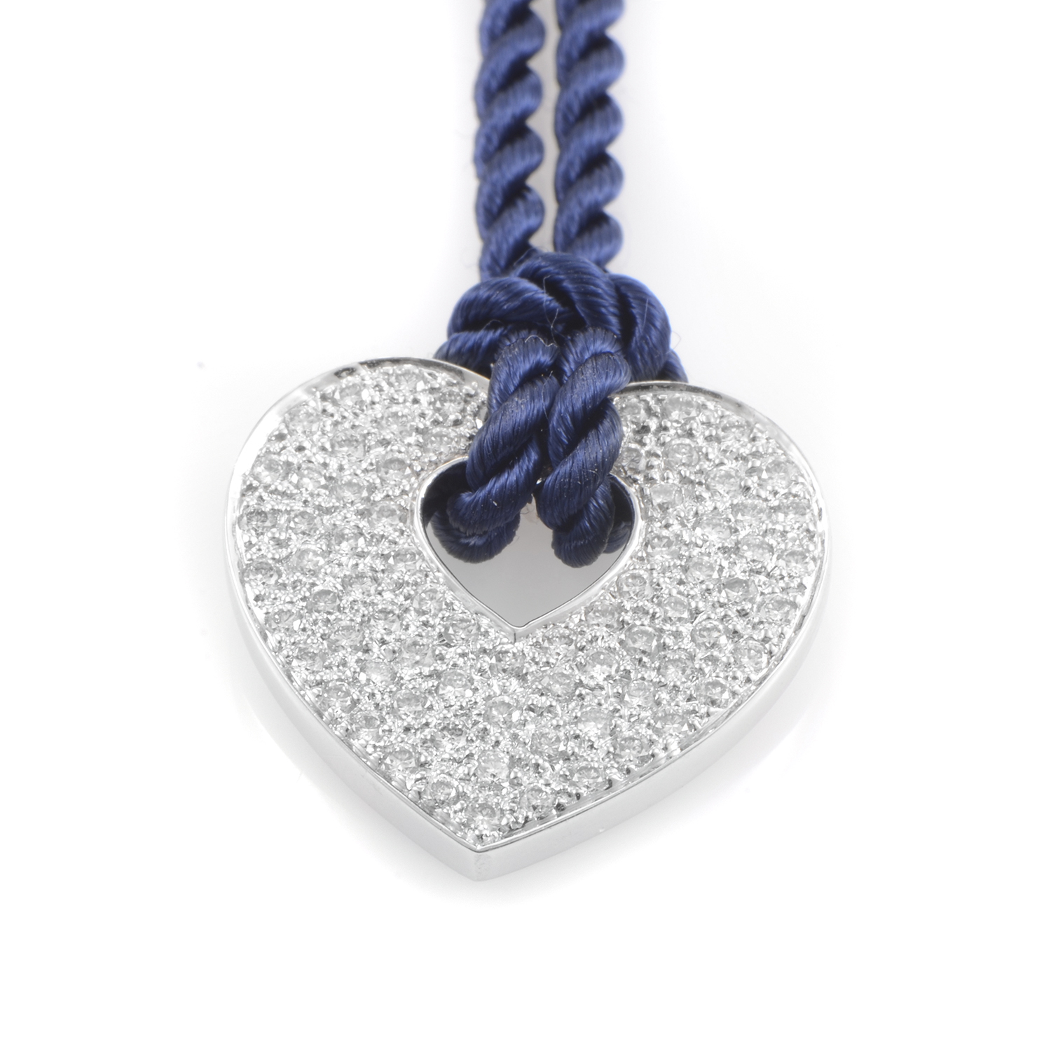 "Image of ""Poiray 18K White Gold Diamond Pendant & Royal Blue Cord Necklace"""