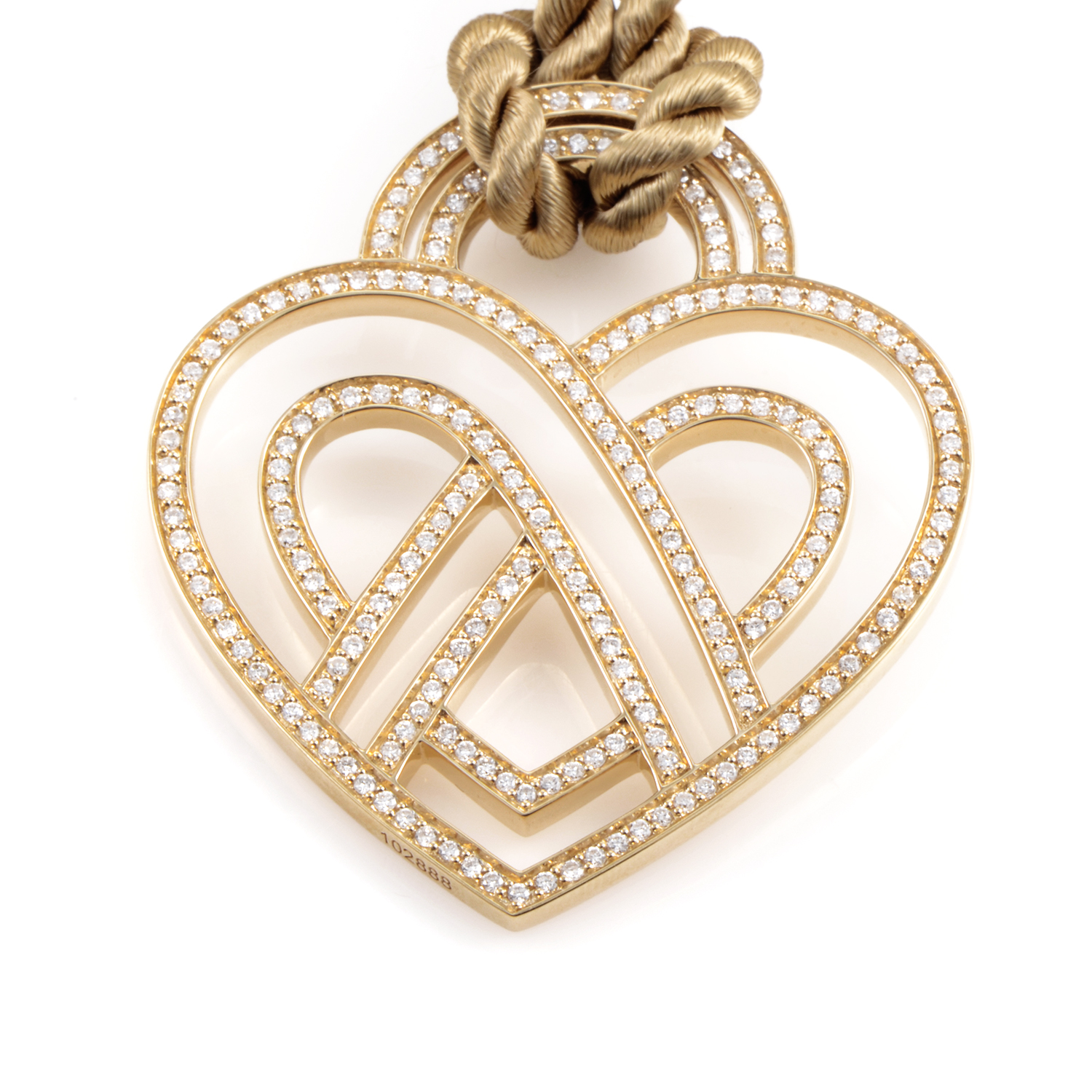 "Image of ""Poiray Wire Heart Framework 18K Yellow Gold Diamond Pendant & Cord"""