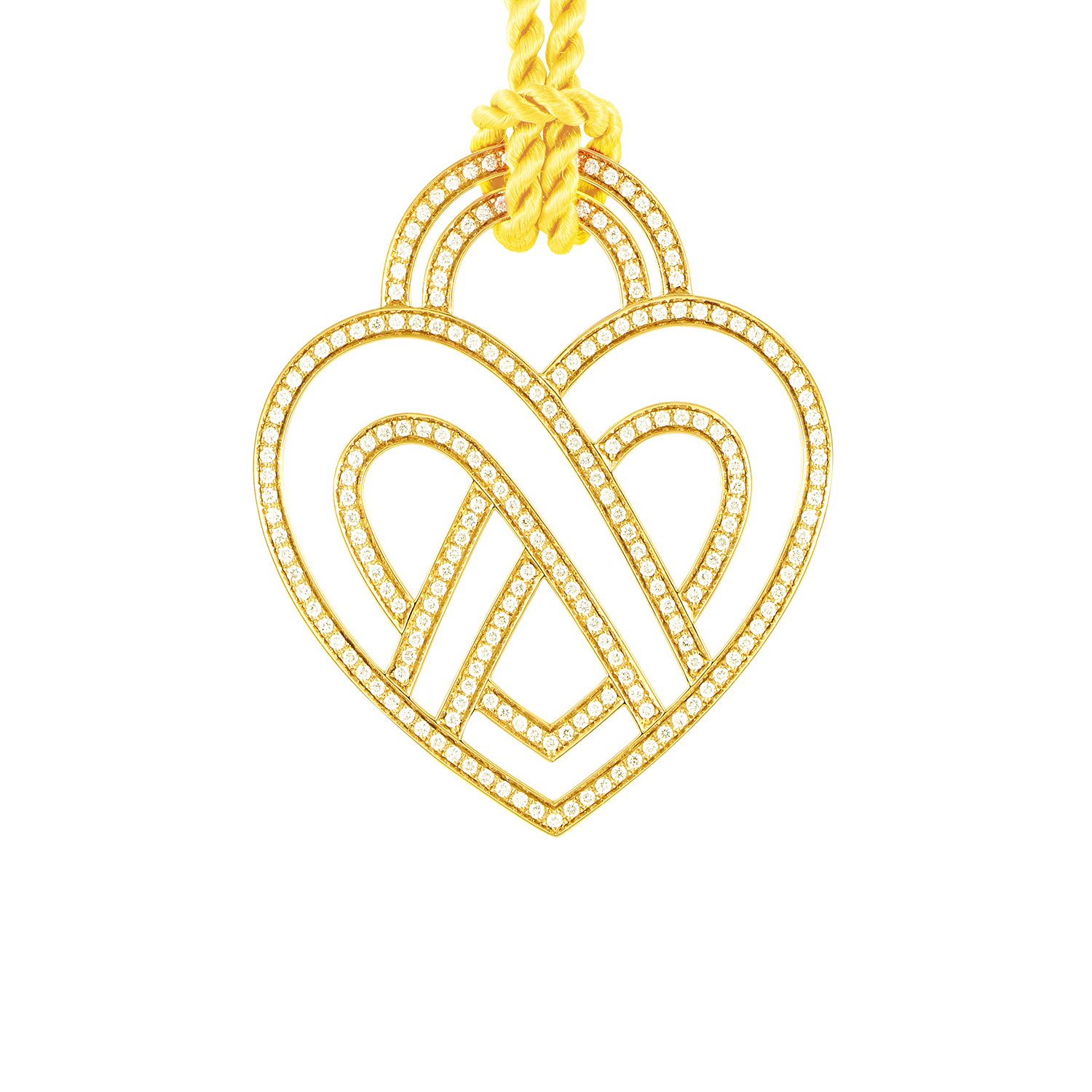 "Image of ""Poiray 18K Yellow Gold Diamond Heart Pendant & Cord Necklace"""