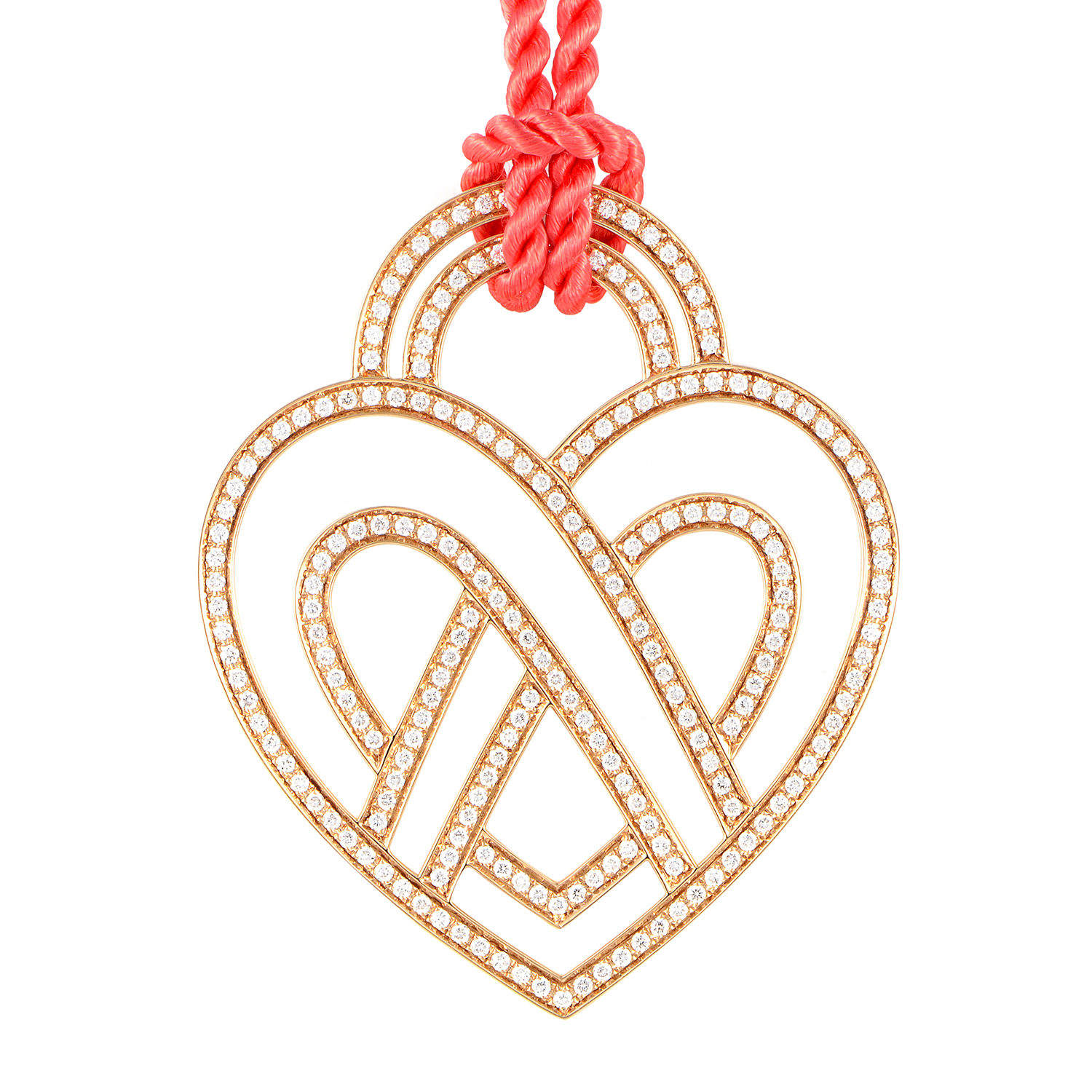 "Image of ""Poiray 18K Rose Gold Diamond Heart Pendant & Cord Necklace"""