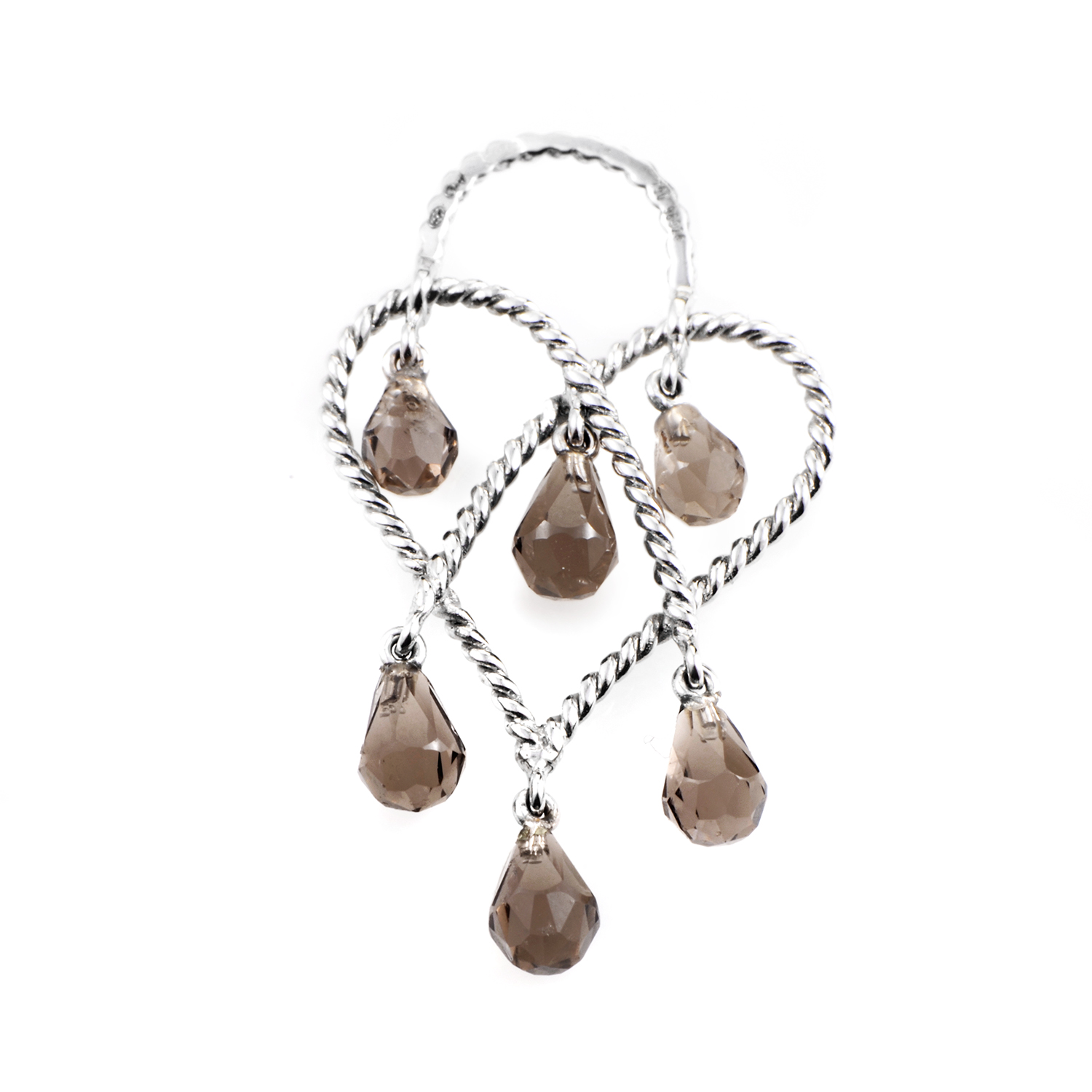 "Image of ""Poiray In Love Heart 18K White Gold & Smoky Quartz Briolette Pendant"""