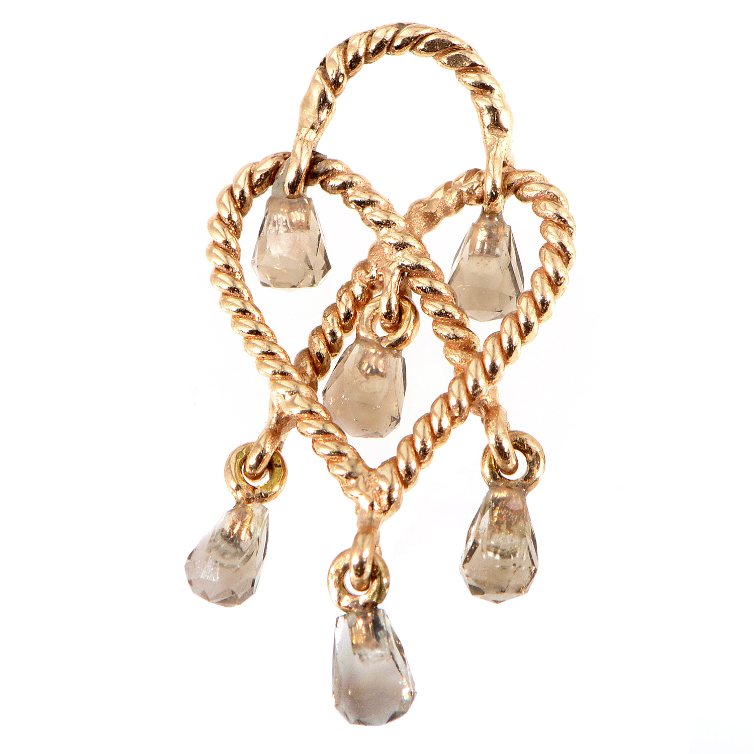 "Image of ""Poiray Love Heart 18K Rose Gold Smoky Quartz Briolette Pendant"""
