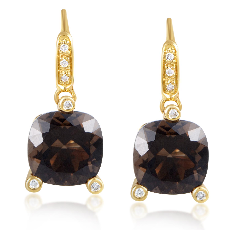 "Image of ""Poiray Girls 18K Yellow Gold Diamond & Smoky Quartz Earrings"""
