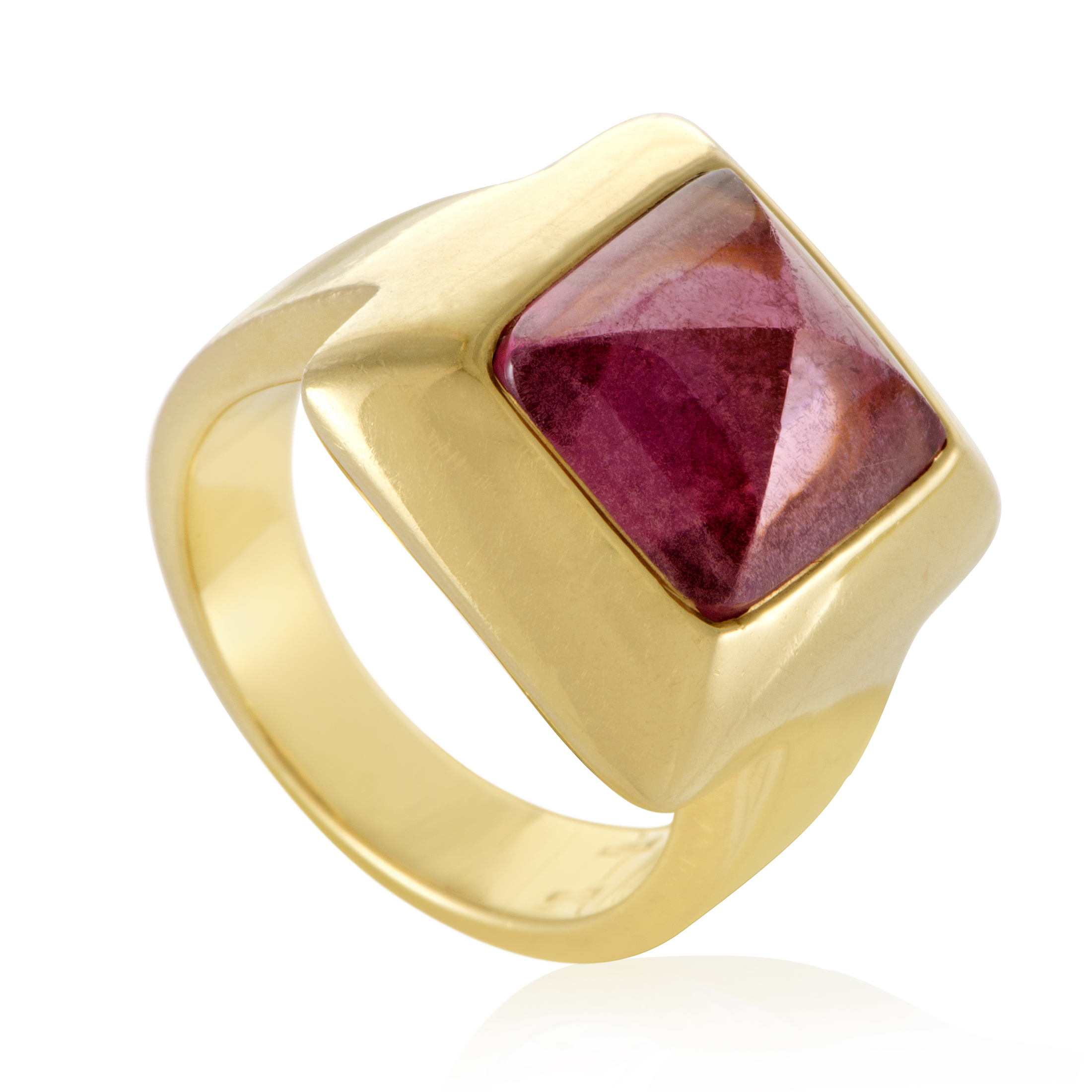 """""Pomellato 18K Yellow Gold & Pink Tourmaline Pyramid Ring Size 6.5"""""" 1405529"