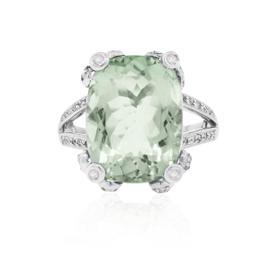 14K White Gold Oval Cut Prasiolite and Diamond Ring