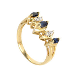 14K Yellow Gold Sapphires and Diamonds Ring