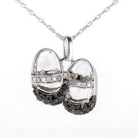 10K White Gold Multi Diamond Baby Shoe Pendant Necklace