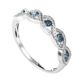 14K White Gold Blue & White Diamond Band Ring