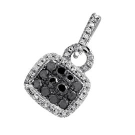 10K White Gold With Black & White Diamond Pave Pendant