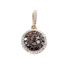 10K Yellow Gold With Brown & White Diamond Pave Pendant